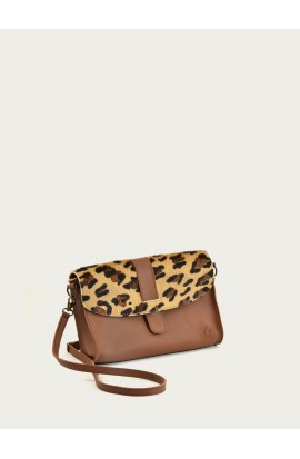 Mejanes bag cognac supple calf and leopard pattern leather