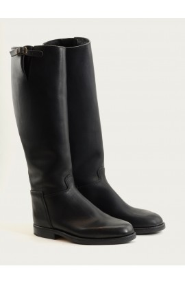 Cavalière city soufflet black fat full leather of calf