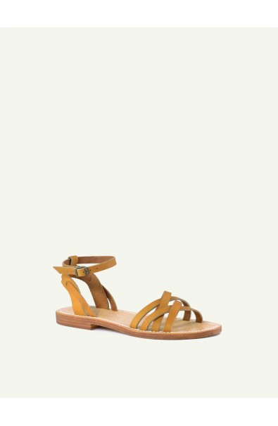Woman sandal in leather, handcrafted