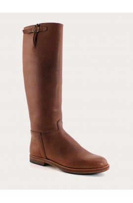Cavalière city soufflet brown fat full leather of calf