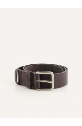 Coffee leather belt width 35mm