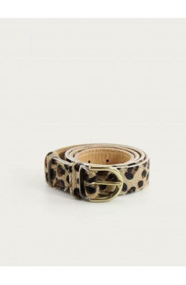 Printed leopard leather belt 25mm