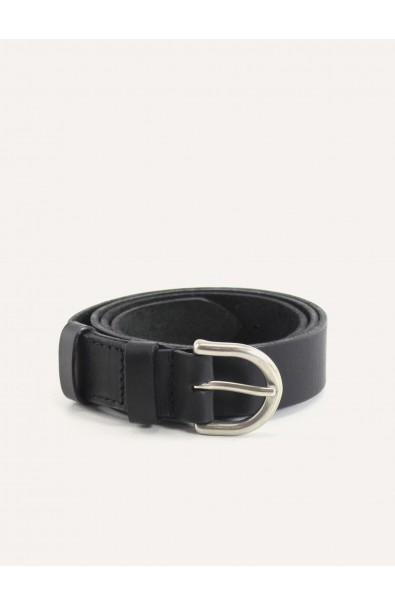 Black leather belt 25mm
