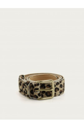 Printed leopard leather belt 35mm