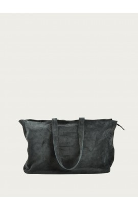 Zip cabas leather bag suede graphite