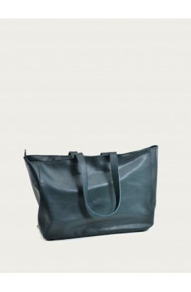Zip cabas leather bag imperial green