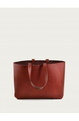 Cabas leather bag bordeaux