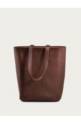 Leather bag Solene zip brown
