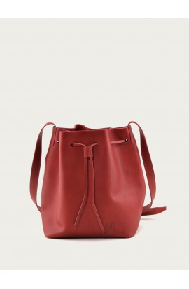 Red leather Aumônière bag